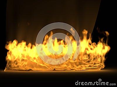 Het gordijn van de zijde in de brand