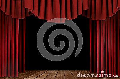 Het Gordijn van het theater met Houten Vloer