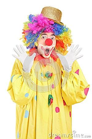 Het grappige clown gesturing met handen