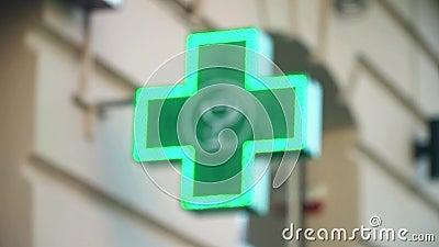 Het Groene Farmaceutische Kruis van Defocusediluminated stock video