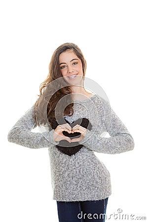 Het hartvorm van de tiener
