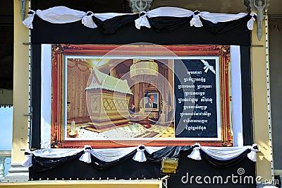 Het herdenkingsportret van Norodom Sihanouk van de koning Redactionele Fotografie