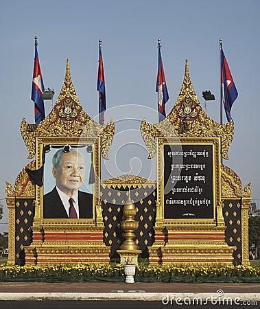 Het herdenkingsportret van Sihanouk van de koning in Phnom Phen Redactionele Fotografie