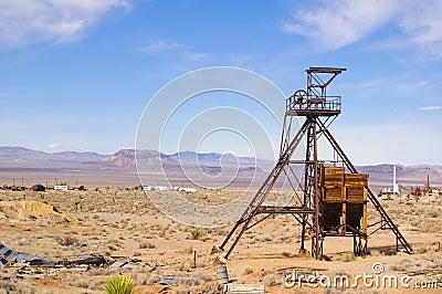 Het hoofd van de mijnbouwschacht