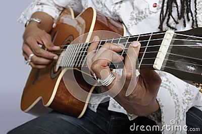 Het houden van een gitaarsnaar
