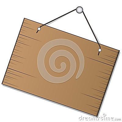Het houten teken hangen