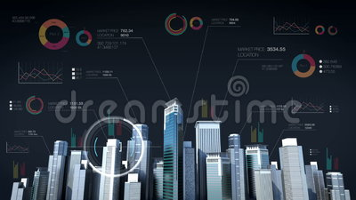 Het Huis van het bouwtechnology de horizon van de de bouwstad en maakt stad met economische grafiek, diagram