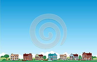 Het huisachtergrond van de voorstad