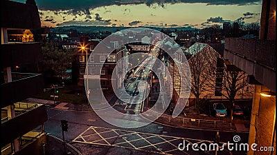 Het Ijzerbrug van Exeter timelapse bij schemer stock video