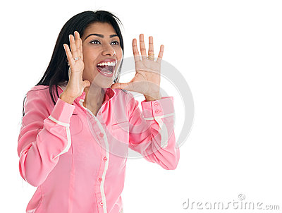 Het Indische vrouw schreeuwen.