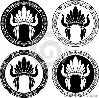 Het inheemse hoofddeksel van de Indiaan