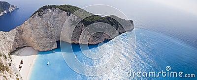 Het Ionische Overzees van het Strand van Navagio
