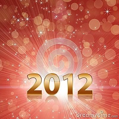 Het jaar 2012 viert rode abstracte achtergrond