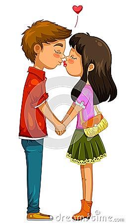 Het jonge paar kussen