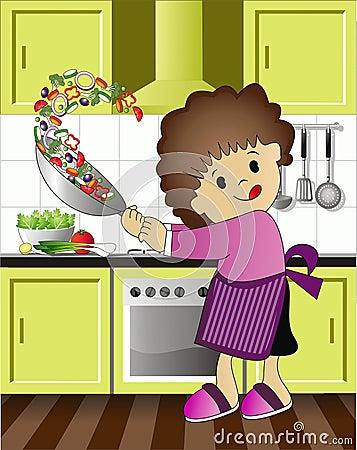 Het kind geniet van kokend