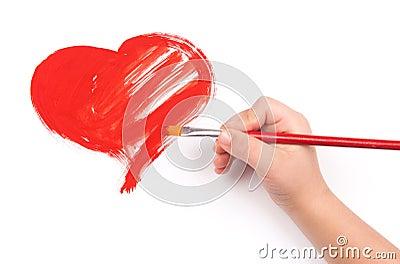 Het kind trekt een hart