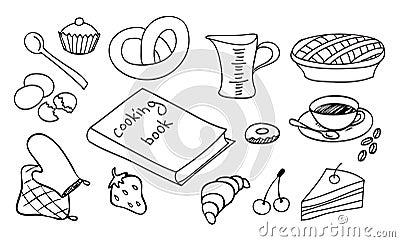het koken en het bakken reeks stock afbeelding