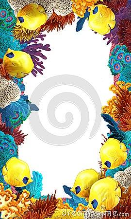 Het koraalrif kader grens illustratie voor de kinderen royalty vrije stock afbeeldingen - Decoratief kader voor het leven ...