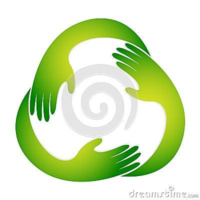 Het kringloopsymbool van de hand