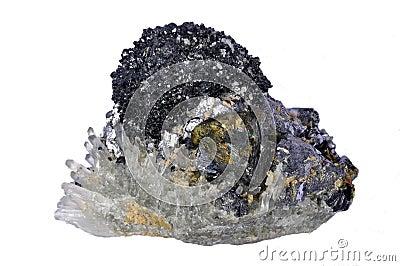 Het kristal van mineralen, loodglans, chalcopyrite, kwarts