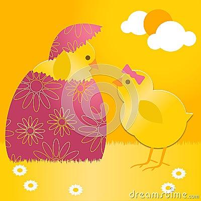 Het kuiken van Pasen in paasei