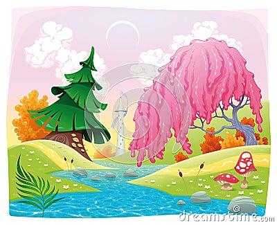 Het landschap van de fantasie op de rivieroever.
