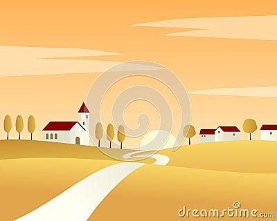 Het Landschap van de Herfst van de landweg