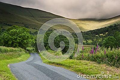 Het landschapsbeeld van het platteland overdwars aan bergen