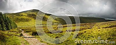 Het landschapspanorama van het platteland overdwars aan bergen