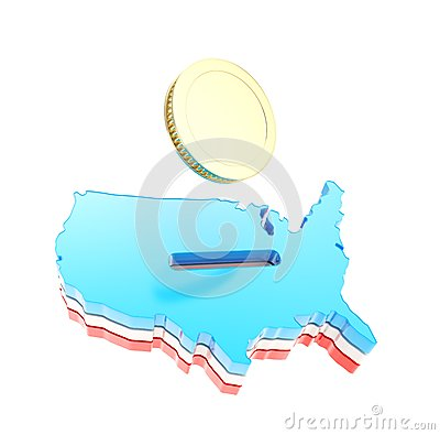 Het landvorm van de V.S. als moneybox met een gouden muntstuk