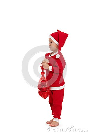 Het leuke jonge geitje kleedde zich als santa