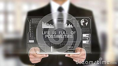 Het leven is volledig van Mogelijkheden, Hologram de Futuristische Interface, Virtuele Werkelijkheid vergrootte stock footage