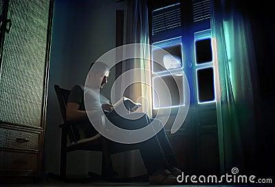 Het lezen onder het maanlicht