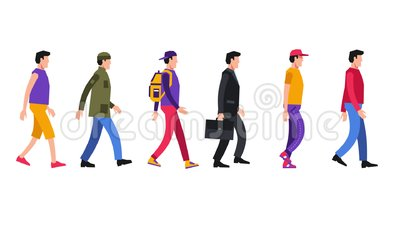 Het lopen cartoon mensen in verschillende alledaagse kleren stock videobeelden