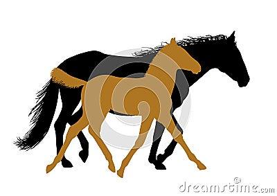Het lopen paarden - silhouetten