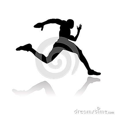 Het lopende silhouet van de atleet
