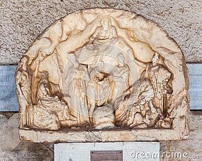Het marmeren Museum Athene van Agora van de Hulp Bas