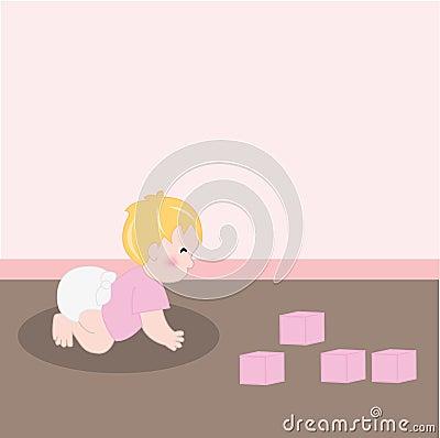 Het meisje van de baby met luier het kruipen stock afbeeldingen afbeelding 7710434 - Ruimte van het meisje parket ...