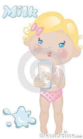 Het meisje van de baby met melk