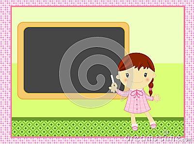 Het meisje van de school met balckboard