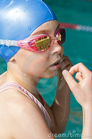 Het meisjesportret van de zwemmer