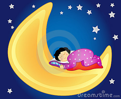 Het meisjesslaap van de baby op de maan