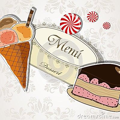 Het menu van het dessert