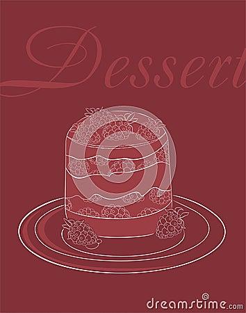 Het menumalplaatje van het dessert