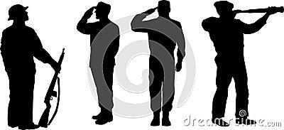 Het militaire silhouet van legermensen