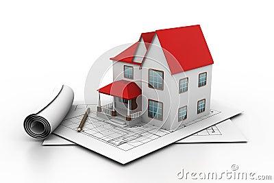 Het model van het huis op een plan