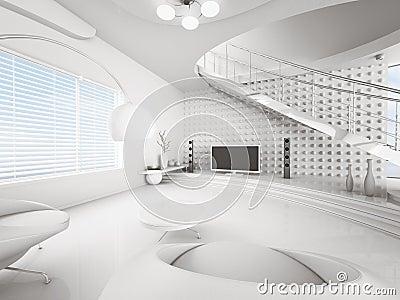 Witte Woonkamer Binnenlandse 3d Royalty-vrije Stock Fotos ...