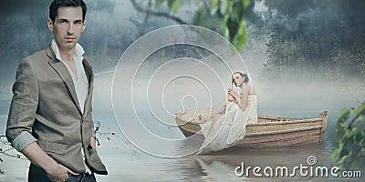 Het modieuze paar stellen over mooie romantisch