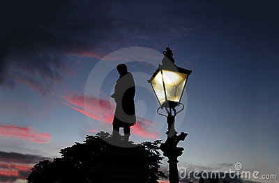 Het monument van brandwonden bij zonsondergang in Aberdeen