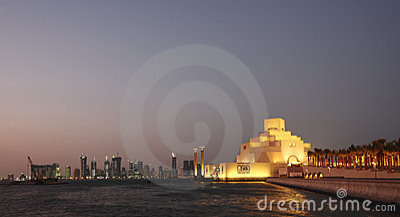 Het museum van Doha bij nacht